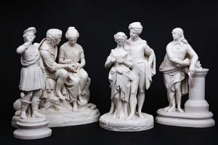 A LATE 19TH CENTURY BISCUIT PORCELAIN FIGURE OF MILTON TOGETHER WITH THREE FURTHER FIGURES