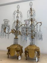 FERDINAND BARBEDIENNE: A LARGE AND IMPRESSIVE PAIR OF 19TH CENTURY GILT BRONZE AND CUT GLASS CANDELA