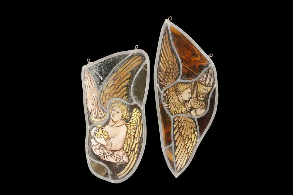 TWO ENGLISH MID 15TH CENTURY STYLE STAINED GLASS PANELS OF ANGELS - Image 3 of 4