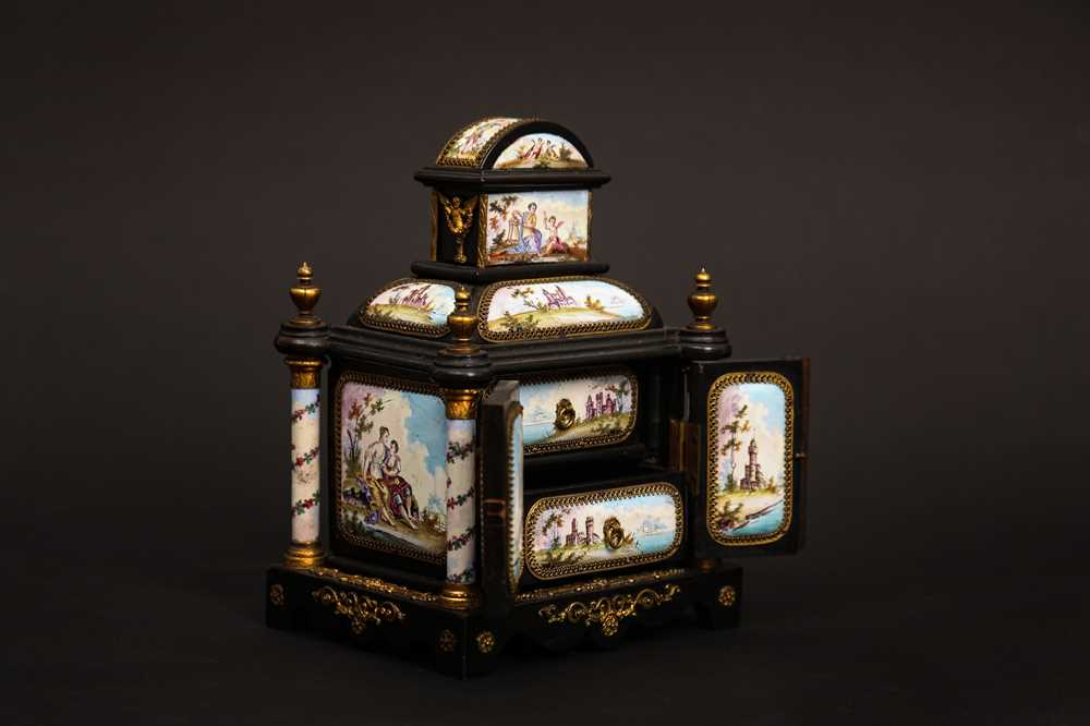 A LATE 19TH CENTURY VIENNESE ENAMEL MINIATURE TABLE CABINET - Image 3 of 9