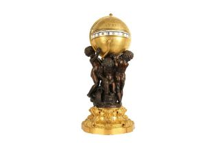 AN EXCEPTIONAL 19TH CENTURY GILT AND PATINATED BRONZE FIGURAL CERCLES TOURNANTS CLOCK SIGNED DENIERE