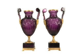 A PAIR OF LARGE 20TH CENTURY RUSSIAN AMETHYST GLASS AND ORMOLU MOUNTED VASES AFTER THE MODEL BY THE