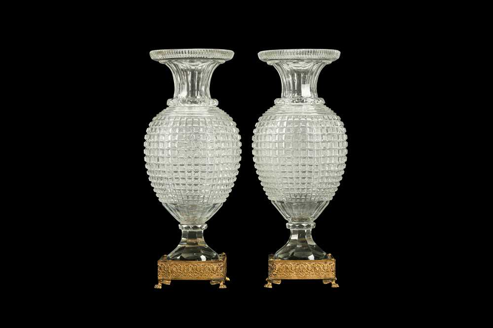 A PAIR OF EARLY 20TH CENTURY ORMOLU AND CUT GLASS VASES, POSSIBLY BACCARAT - Image 4 of 6