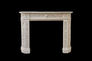 A RENAISSANCE REVIVAL STYLE CARVED MARBLE CHIMNEYPIECE