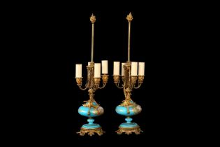 A PAIR OF LATE 19TH CENTURY FRENCH SEVRES STYLE PORCELAIN LAMP BASES