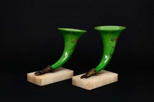 A PAIR OF 19TH CENTURY PAINTED GREEN GLASS, ORMOLU AND MARBLE POSEY VASES