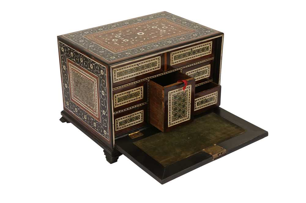A 16TH / 17TH CENTURY AND LATER INDO-PORTUGUESE IVORY AND MICROMOSAIC INLAID TABLE CABINET GUJARAT O