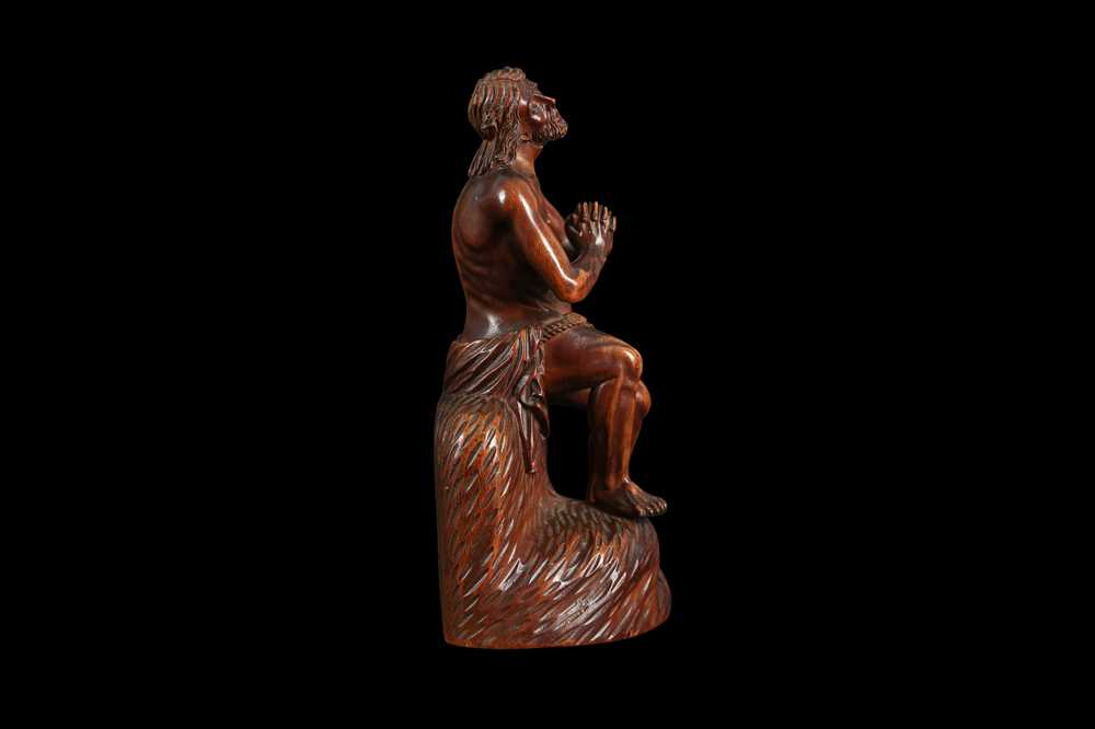 A 17TH CENTURY GERMAN CARVED BOXWOOD FIGURE OF CHRIST ON THE COLD STONE - Image 3 of 6