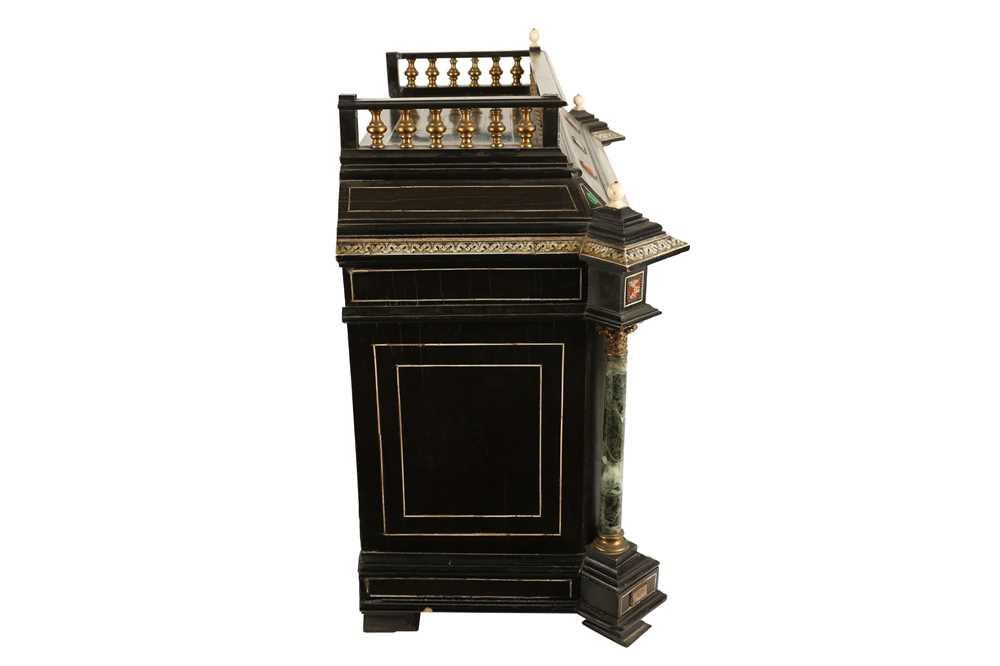 A 19TH CENTURY ITALIAN EBONISED, HARDSTONE AND IVORY INLAID TABLE CABINET - Image 12 of 12