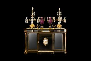 A FINE 19TH CENTURY FRENCH EBONISED, ORMOLU AND PORCELAIN MOUNTED SIDE CABINET CIRCA 1880