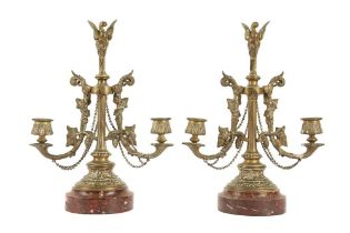 A PAIR OF LATE 19TH CENTURY FRENCH BRONZE AND MARBLE CANDELABRA