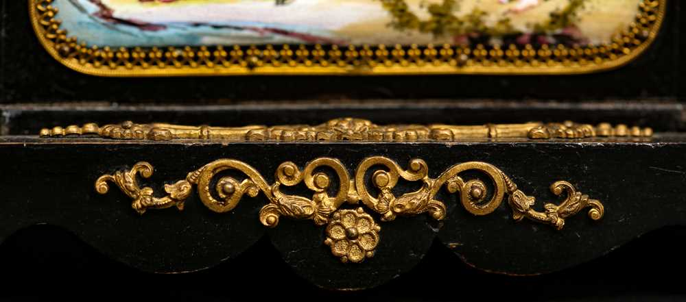 A LATE 19TH CENTURY VIENNESE ENAMEL MINIATURE TABLE CABINET - Image 6 of 9