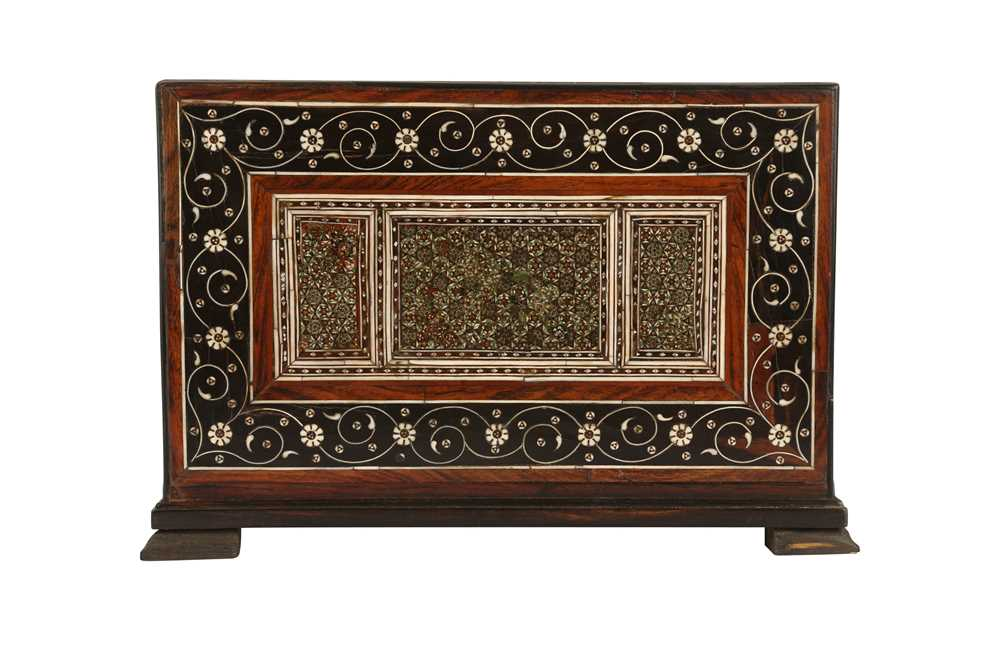 A 16TH / 17TH CENTURY AND LATER INDO-PORTUGUESE IVORY AND MICROMOSAIC INLAID TABLE CABINET GUJARAT O - Image 4 of 8