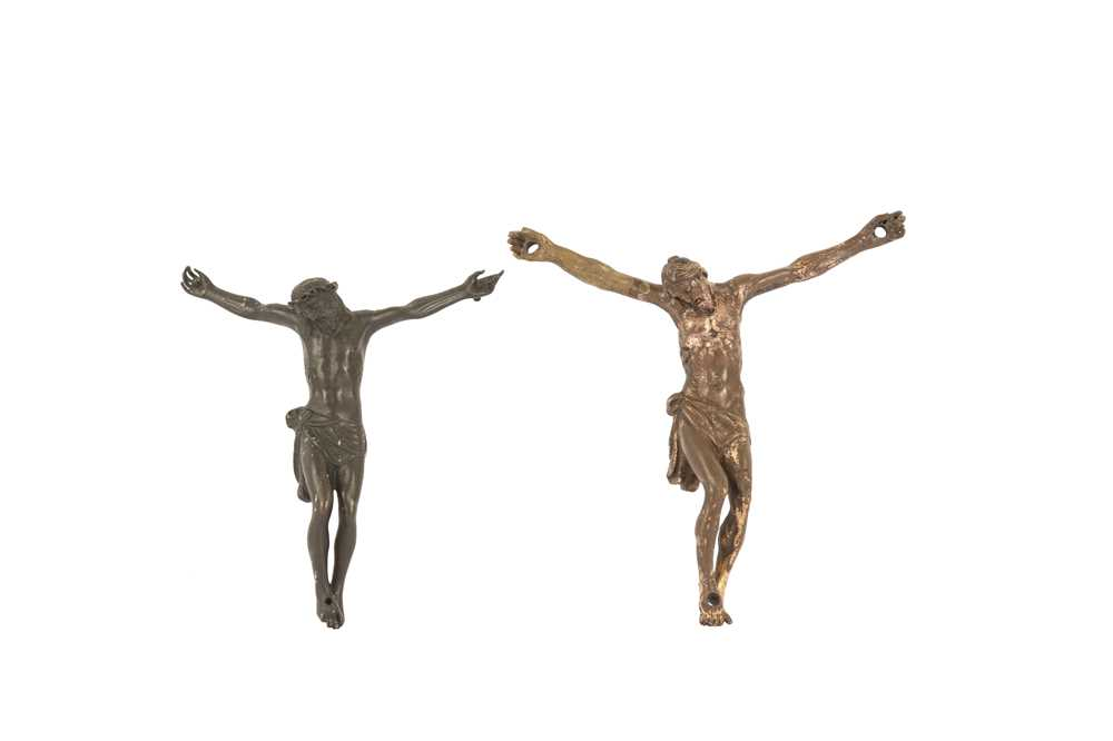 AN 18TH / 19TH CENTURY BRONZE CORPUS CHRISTI TOGETHER WITH ANOTHER