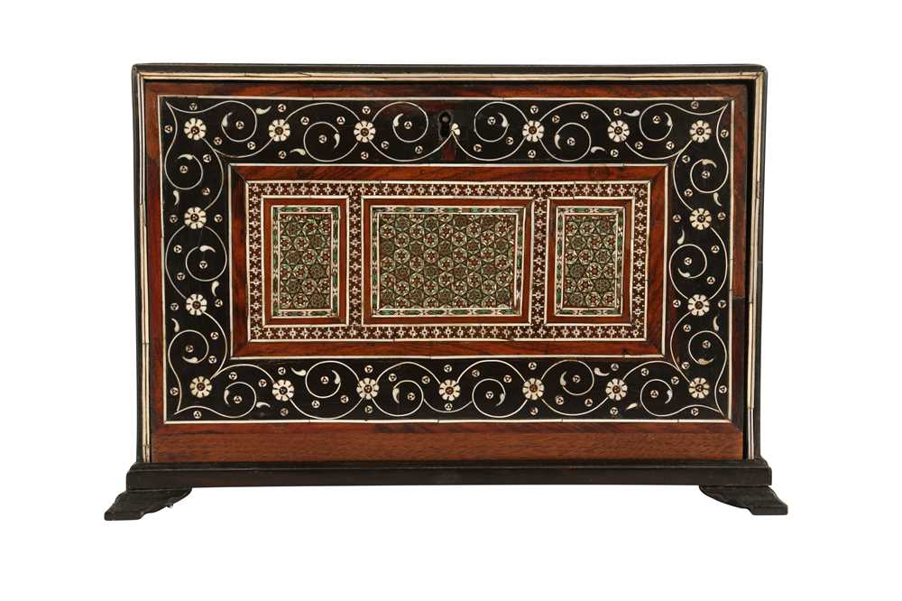 A 16TH / 17TH CENTURY AND LATER INDO-PORTUGUESE IVORY AND MICROMOSAIC INLAID TABLE CABINET GUJARAT O - Image 3 of 8