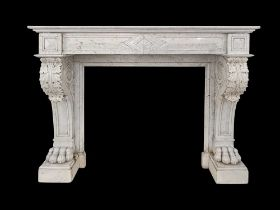 A GEORGE II STYLE MARBLE CHIMNEYPIECE