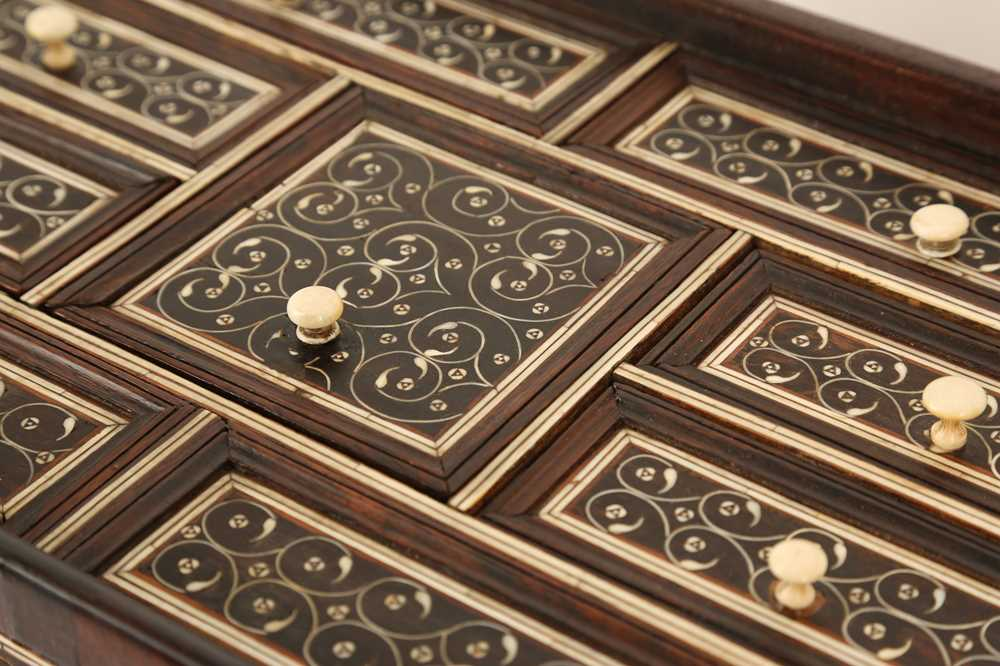 A LATE 17TH / EARLY 18TH CENTURY INDO-PORTUGUESE ROSEWOOD AND IVORY TABLE CABINET - Image 8 of 11