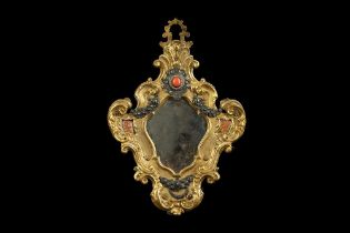 A MID 18TH CENTURY ITALIAN GILT BRONZE, SILVER, PASTE, MARBLE AND CORAL MOUNTED MIRROR POSSIBLY TRAP
