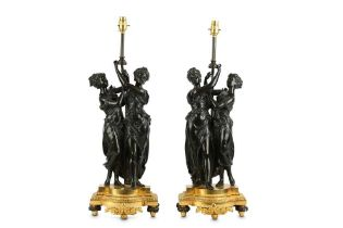A PAIR OF LATE 19TH / EARLY 20TH CENTURY FRENCH BRONZE FIGURAL LAMP BASES IN THE MANNER OF FALCONET