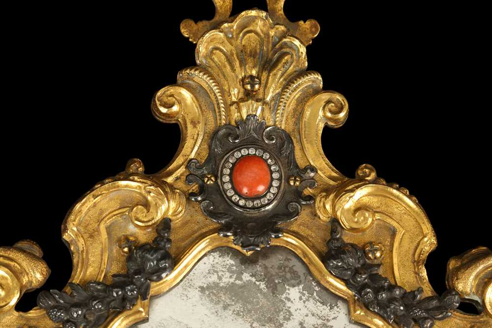 A MID 18TH CENTURY ITALIAN GILT BRONZE, SILVER, PASTE, MARBLE AND CORAL MOUNTED MIRROR POSSIBLY TRAP - Image 2 of 4