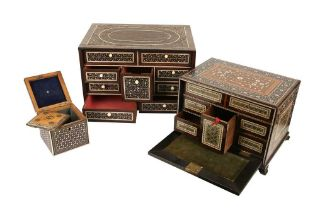 A LATE 17TH / EARLY 18TH CENTURY INDO-PORTUGUESE ROSEWOOD AND IVORY TABLE CABINET