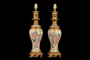 A PAIR OF LATE 19TH CENTURY CHINESE FAMILLE ROSE PORCELAIN LAMP BASES