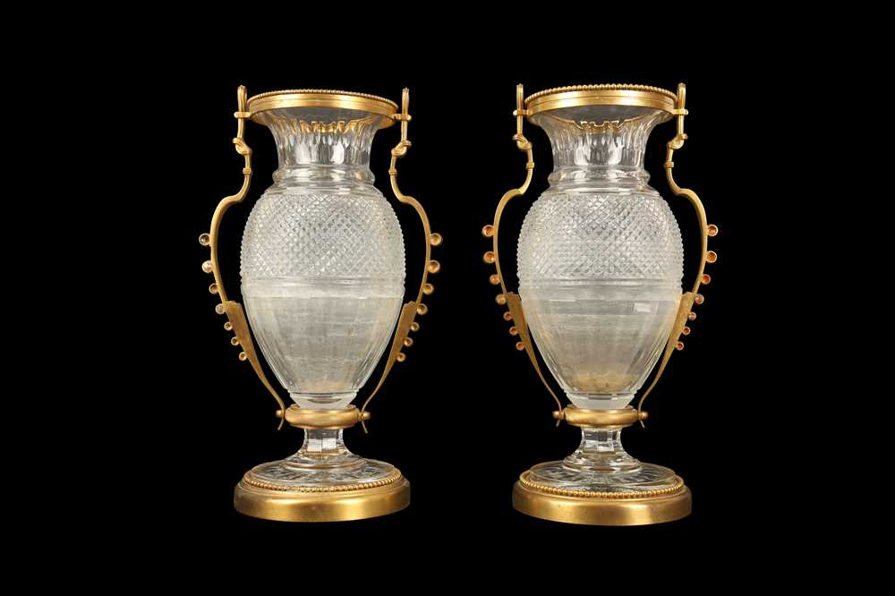 A PAIR OF BELLE EPOQUE STYLE BACCARAT GILT BRONZE MOUNTED GLASS VASES - Image 2 of 6