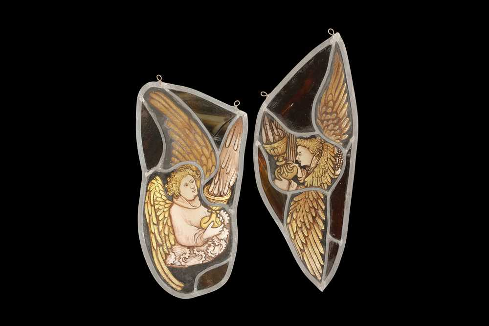 TWO ENGLISH MID 15TH CENTURY STYLE STAINED GLASS PANELS OF ANGELS