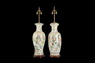 A LARGE NEAR PAIR OF CANTON PORCELAIN VASES ADAPTED AS LAMP BASES
