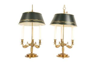 A PAIR OF LOUIS XVI STYLE ORMOLU AND TOLE BOUILLOTTE LAMPS