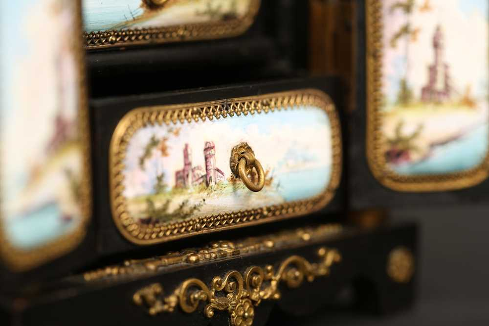 A LATE 19TH CENTURY VIENNESE ENAMEL MINIATURE TABLE CABINET - Image 8 of 9