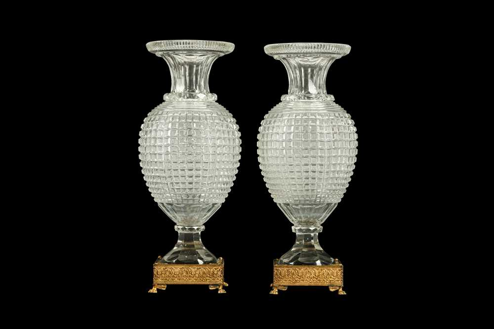 A PAIR OF EARLY 20TH CENTURY ORMOLU AND CUT GLASS VASES, POSSIBLY BACCARAT - Image 2 of 6