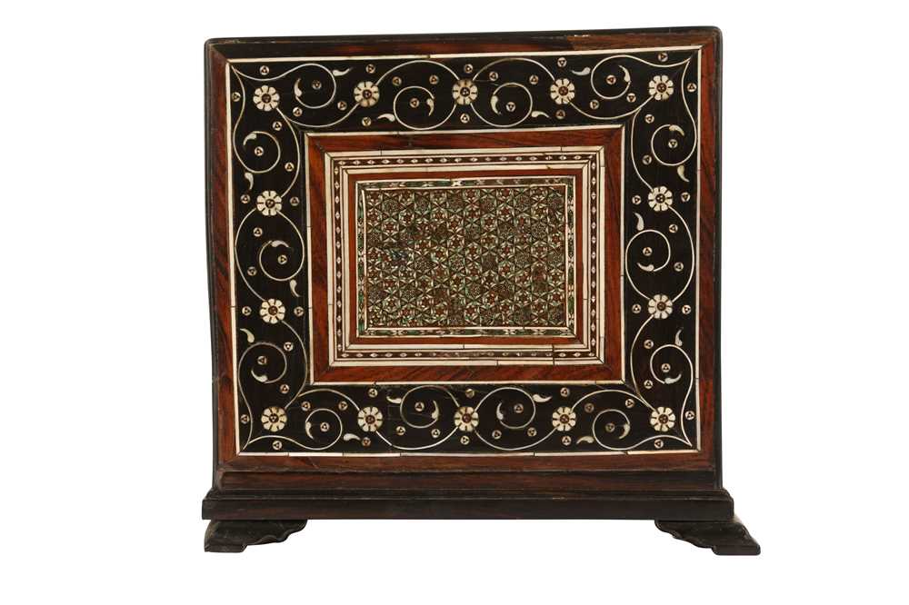 A 16TH / 17TH CENTURY AND LATER INDO-PORTUGUESE IVORY AND MICROMOSAIC INLAID TABLE CABINET GUJARAT O - Image 8 of 8