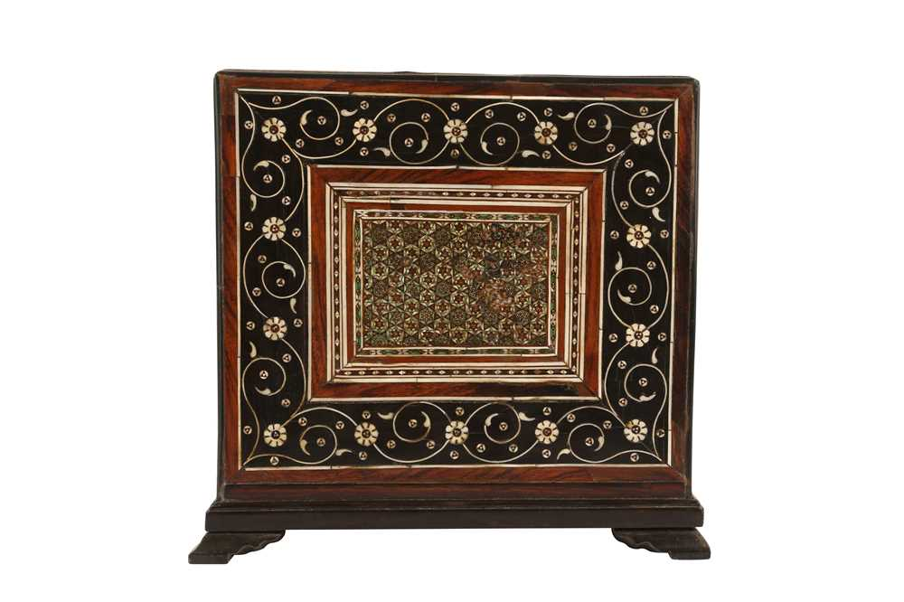 A 16TH / 17TH CENTURY AND LATER INDO-PORTUGUESE IVORY AND MICROMOSAIC INLAID TABLE CABINET GUJARAT O - Image 6 of 8