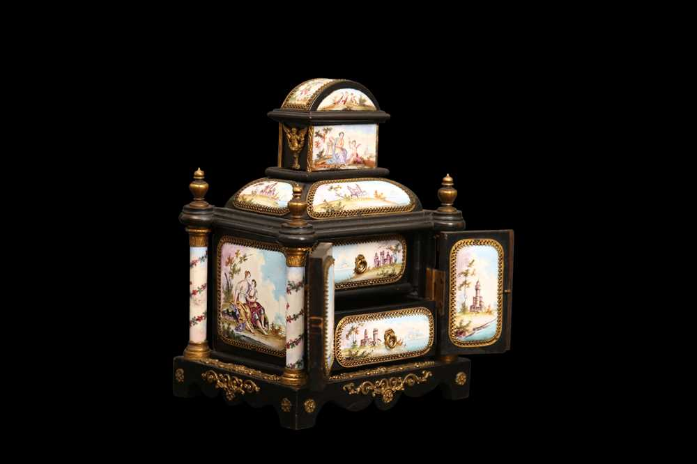 A LATE 19TH CENTURY VIENNESE ENAMEL MINIATURE TABLE CABINET
