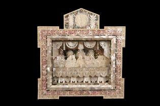 A JERUSALEM MOTHER OF PEARL, ABALONE AND OLIVEWOOD DIORAMA DEPICTING THE LAST SUPPER