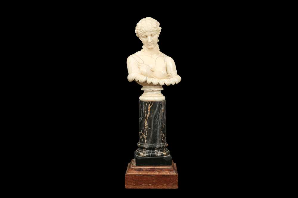 A 19TH CENTURY DIEPPE IVORY BUST OF CLYTIE, AFTER THE ANTIQUE