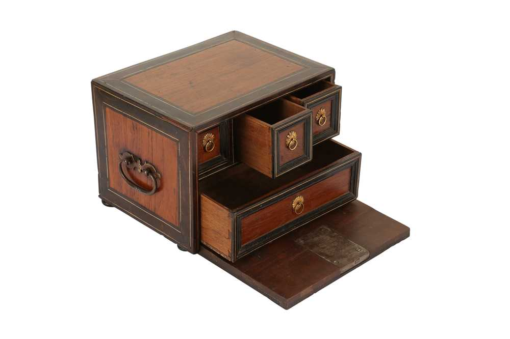 A 17TH CENTURY AND LATER FLEMISH FRUITWOOD, ROSEWOOD AND EBONISED TABLE CABINET