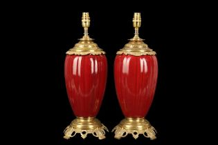 A PAIR OF SANG DE BOEUF STYLE LAMP BASES