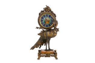 ATTRIBUTED TO L'ESCALIER DE CRISTAL, PARIS: A FINE LATE 19TH CENTURY FRENCH PEACOCK CLOCK