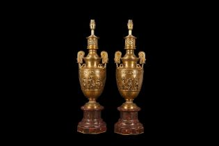 F. BARBEDIENNE, PARIS: A FINE PAIR OF LATE 19TH CENTURY BRONZE LAMP BASES