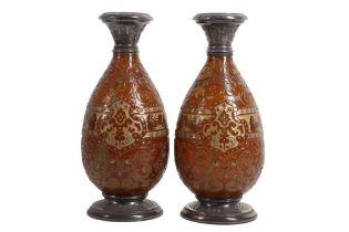 A PAIR OF LATE 19TH CENTURY FRENCH SILVER MOUNTED GLASS VASES BY BURGUN, SCHVERER & CIE,