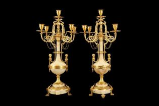 A FINE PAIR OF LATE 19TH CENTURY FRENCH GILT BRONZE AND ALGERIAN ONYX CANDELABRA POSSIBLY BY THE ALG