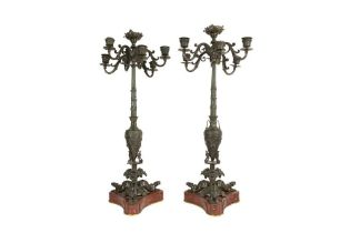 A PAIR OF LATE 19TH CENTURY FRENCH BRONZE AND MARBLE NEO-GREC STYLE CANDELABRA POSSIBLY BY BARBEDIEN