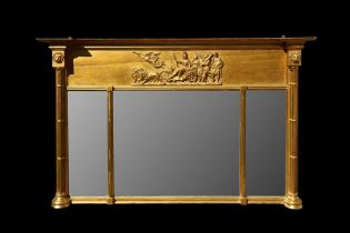 AN EARLY 19TH CENTURY GILTWOOD AND GESSO WALL MIRROR OF CLASSICAL THEME