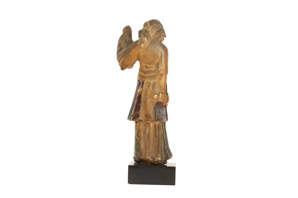 A MID 17TH CENTURY GERMAN ALABASTER FIGURE OF JUDITH WITH THE HEAD OF HOLOFERNES - Image 2 of 5