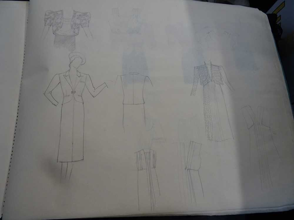 ATTRIBUTED TO DAME MARY QUANT (BORN 1930), STUDENT'S SKETCHBOOK OF FASHION STUDIES - Image 3 of 22