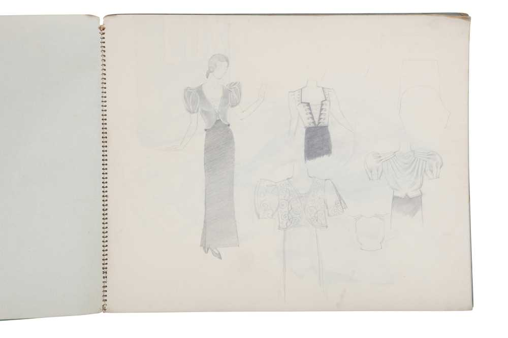 ATTRIBUTED TO DAME MARY QUANT (BORN 1930), STUDENT'S SKETCHBOOK OF FASHION STUDIES - Image 2 of 22