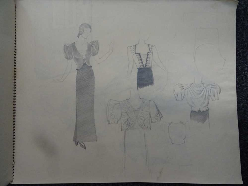 ATTRIBUTED TO DAME MARY QUANT (BORN 1930), STUDENT'S SKETCHBOOK OF FASHION STUDIES - Image 14 of 22