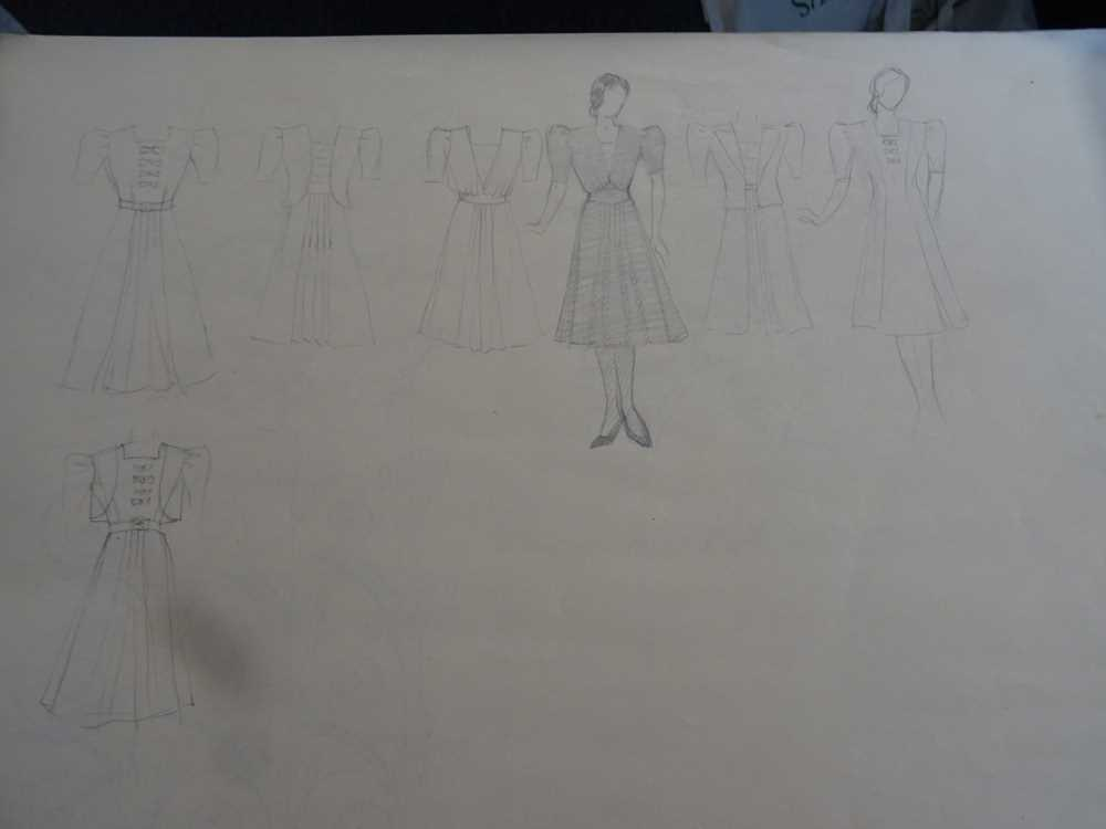 ATTRIBUTED TO DAME MARY QUANT (BORN 1930), STUDENT'S SKETCHBOOK OF FASHION STUDIES - Image 11 of 22